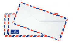 Airmail envelope. Group of Air mail envelopes on isolated white stock image