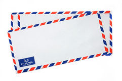 Airmail envelope. Group of Air mail envelopes on isolated white Royalty Free Stock Photo