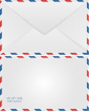 Airmail envelope. Back and front view Royalty Free Stock Photos