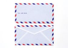 Airmail envelope. Airmail white envelope on white background Stock Image