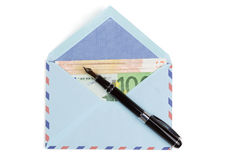 Airmail envelope with a money. Over white background Stock Photos
