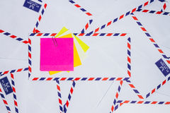 Airmail envelope. Paper note on airmail envelope Royalty Free Stock Photos