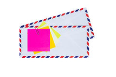 Airmail envelope. Paper note on airmail envelope Royalty Free Stock Images