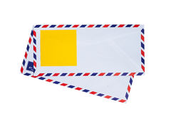 Airmail envelope. Paper note on airmail envelope Stock Photo