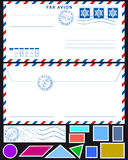 Airmail envelope and stamps set Stock Images