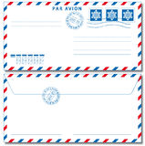 Airmail envelope. With stamps. Vector illustration EPS10. Used Drop Stock Image