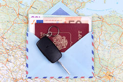 Airmail envelope with travel passport money Royalty Free Stock Photography