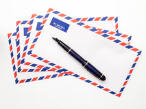 Airmail Envelopes and Fountain Pen Royalty Free Stock Photos