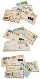Airmail envelopes stamps foreign isolated collage Stock Photos