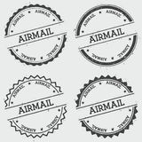 Airmail insignia stamp isolated on white. Airmail insignia stamp isolated on white background. Grunge round hipster seal with text, ink texture and splatter and Royalty Free Stock Image