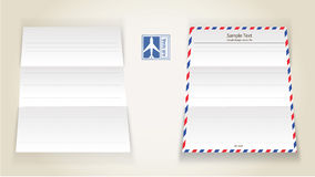 Airmail letter paper. Vector illustration of the airmail, letter paper Stock Photos