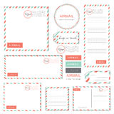 Airmail letter set vintage. Style pastel color Royalty Free Stock Image