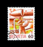 Airmail, Post Delivery serie, circa 1987. MOSCOW, RUSSIA - NOVEMBER 26, 2017: A stamp printed in Switzerland shows Airmail, Post Delivery serie, circa 1987 stock photos