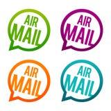 Airmail round guziki Okręgu Eps10 wektor ilustracji