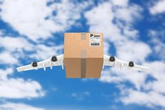Airmail Shipping Concept. Cardboard Box Parcel with Jet Engines. And Airplane Wings on a blue sky background. 3d Rendering Stock Photos