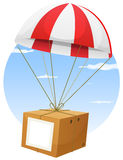 Airmail Shipping Delivery. Illustration of a cartoon parachute holding and delivering cardboard box by air shipping, with empty blank sign and sky background Royalty Free Stock Photo