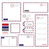 Airmail Stationery set. Paper, letter,  envelope Royalty Free Stock Photo