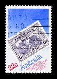 Airmail 50th, World Stamps Expo serie, circa 1981. MOSCOW, RUSSIA - MARCH 28, 2018: A stamp printed in Australia shows Airmail 50th, World Stamps Expo serie royalty free stock photos