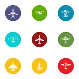 Airman icons set, flat style. Airman icons set. Flat set of 9 airman vector icons for web isolated on white background Stock Photos