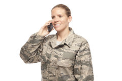 Airman talking on phone Stock Images