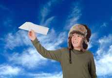Airman Young playing with a paper airplane Royalty Free Stock Photography