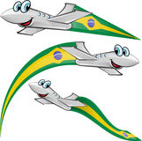 Airoplane cartoon with brazil flag Stock Photo