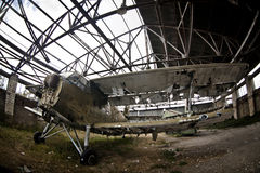 Airoplane  under  metal consruction Stock Photography