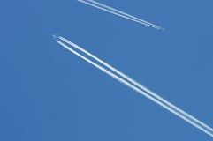 Airoplanes on the blue sky Royalty Free Stock Photography