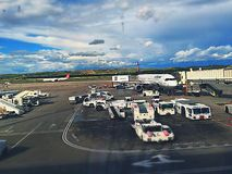 Airoport real image. Of the places and machineries . Airoport of Madrid. Lufthansa at the gate Royalty Free Stock Photos
