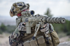 Airosft multicam m4 scope sniper Stock Photos