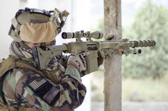 Airosft multicam m4 scope sniper Royalty Free Stock Photography