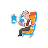 Airpane cabin passenger old man smart phone Royalty Free Stock Photos