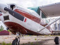 Airplain. private jet, exhibition in Riga. Royalty Free Stock Photography