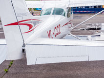 Airplain. private jet, exhibition in Riga. Royalty Free Stock Images