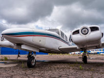 Airplain. private jet, exhibition in Riga. Airplain private jet exhibition in Riga, Latvia Royalty Free Stock Photography
