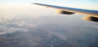 Airplain in sky. Transportation background Royalty Free Stock Photo