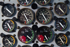 Airplaine board. Small airplane control board in cockpit stock images