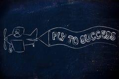 Airplaine engraçado com bandeira: mosca ao sucesso Fotografia de Stock Royalty Free