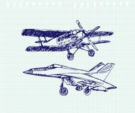 Airplaine sketch. Hand drawn illustration for your design Royalty Free Stock Images