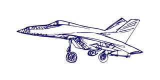 Airplaine sketch. Hand drawn illustration for your design Stock Photos