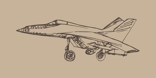 Airplaine sketch. Hand drawn illustration for your design Stock Image