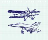 Airplaine skissar Hand dragen illustration för din design Royaltyfria Bilder