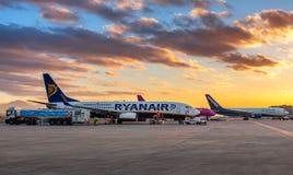 Airplains in Bergamo airport. Stock Photo