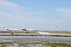 Airplains and boats, Venice, Italy Royalty Free Stock Photos