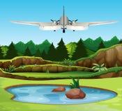 Airplan που πετά πέρα από το δάσος διανυσματική απεικόνιση