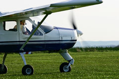 Airplane #1. A small airplane on a runway Royalty Free Stock Image