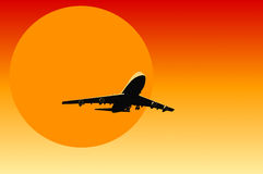 Airplane. Taking off in cartoon style with sun Royalty Free Stock Images
