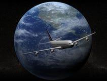 Airplane. Flight around the world stock illustration