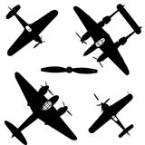 Airplane. Black silhouette airplane; military airplane vector illustration