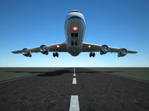 Airplane. Illustration of airplane taking off - 3d render Stock Image